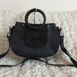 Lucky Brand Black Leather Satchel Crossbody Bag
